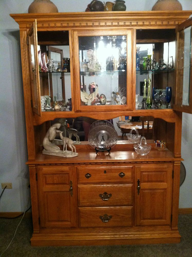Richardson Brothers Co. Oak Lighted Buffet And Hutch Reduced Price  #RichardsonBrothersCompany