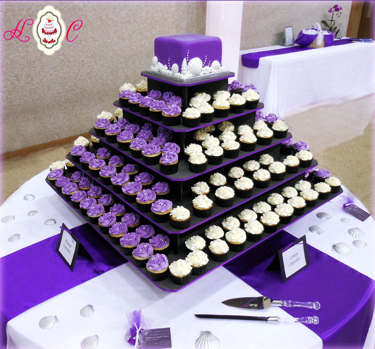 square black and white wedding cakes pictures%0A purple white wedding   Purple  u     White Wedding Cupcake Tower featuring  Seashells by Heavenly