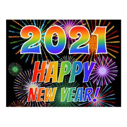 Rainbow Letters 2021 Happy New Year Postcard Zazzle Com New Year Postcard New Year Greeting Messages New Year Greetings