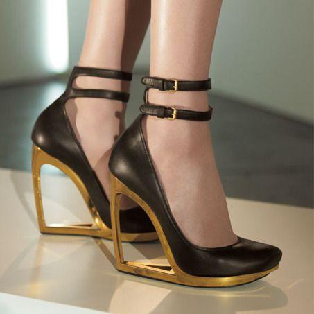 Lanvin Cutout Wedge Heel Pump With Images Heels Pumps Heels Cutout Heels