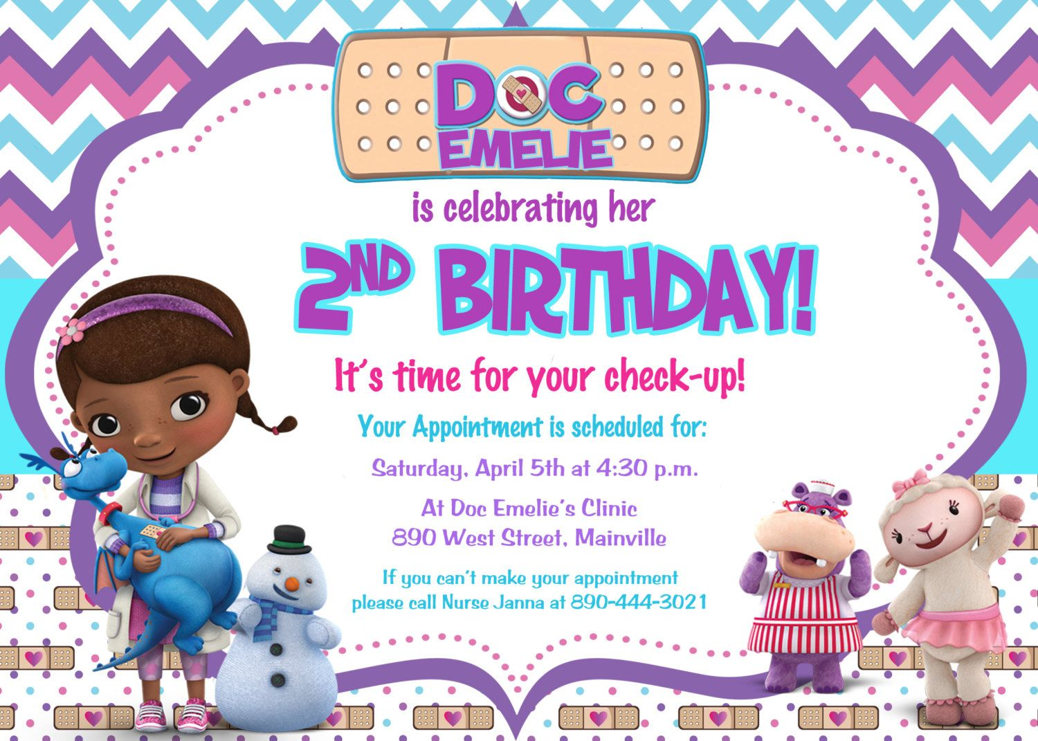 Doc McStuffins Birthday Party Invitation - Digital File | Doc ...