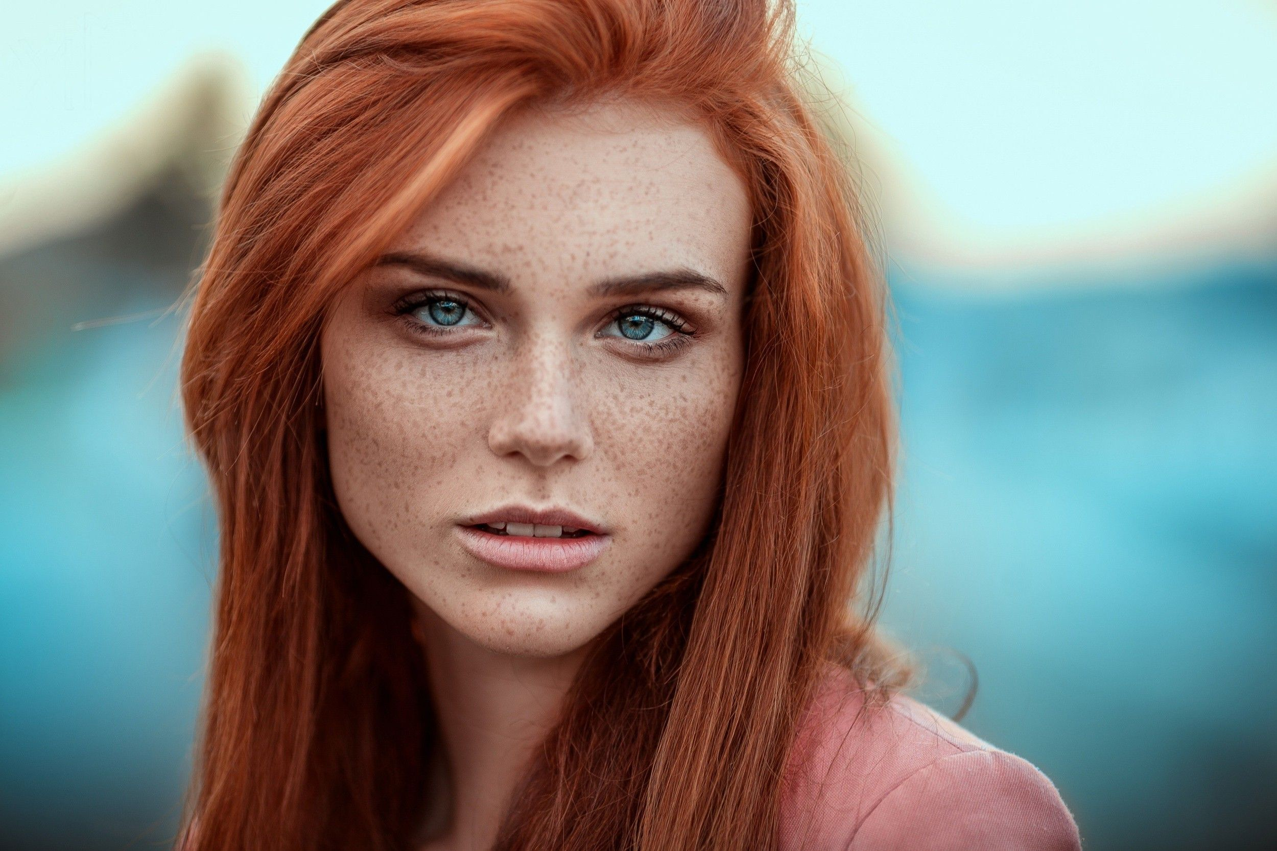 Women Blue Eyes Freckles Redhead Looking At Viewer Face Portrait