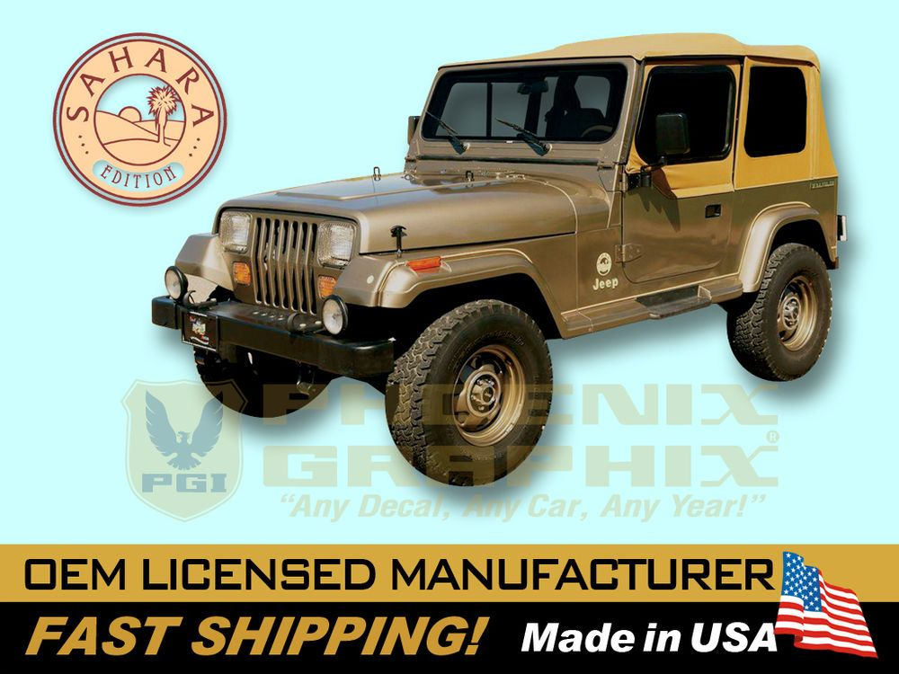 1988 1989 1990 1991 jeep wrangler sahara edition yj decals stripes kit wrangler sahara jeep. Black Bedroom Furniture Sets. Home Design Ideas