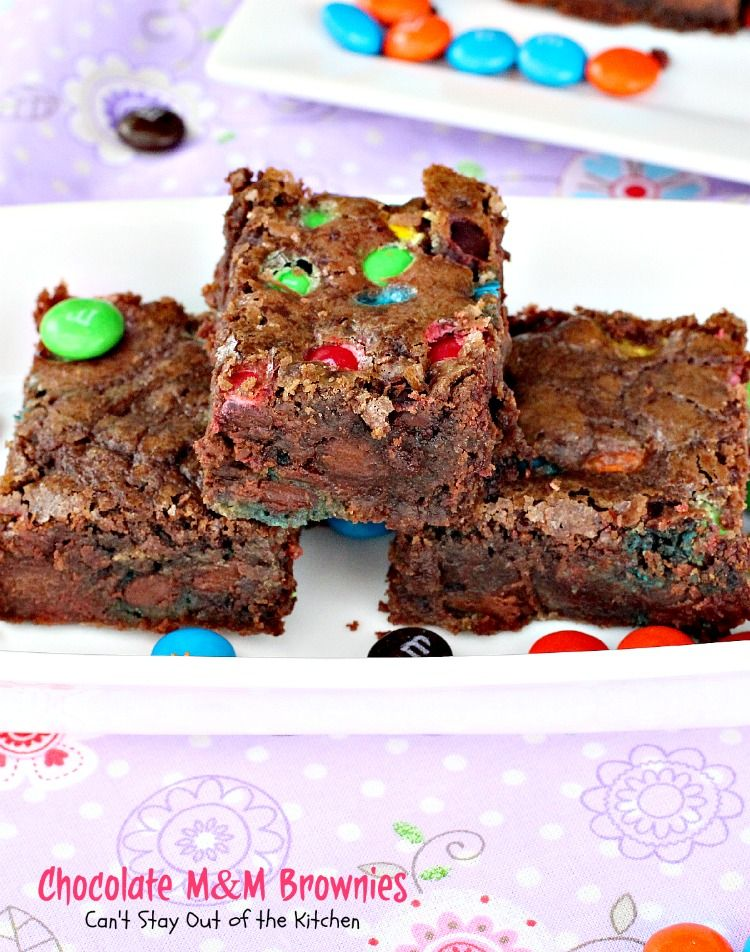 Chocolate M&M Brownies | Can't Stay Out of the Kitchen | sensational #brownies filled with #M&Ms. Quick and easy, too. #dessert #chocolate