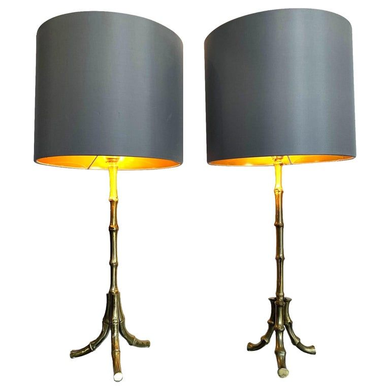 Pair Of 1950s Maison Bagues Brass Faux Bamboo Lamps With New Bespoke Shades In 2021 Bamboo Lamp Faux Bamboo Lamp