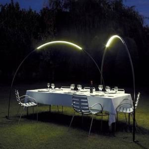 Dinner with friends at the deck on a summer night. Halley Floor To Floor Lamp 4150-04 at 2Modern