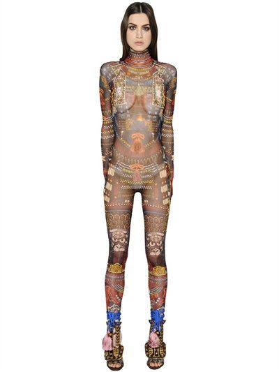 390b1d3660 DSQUARED2 Tribal Printed Sheer Stretch Jumpsuit