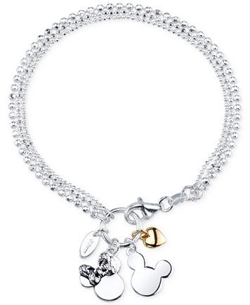 Disney Two Tone Mickey And Minnie Mouse Charm Bracelet In Sterling
