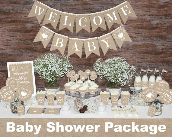 rustic baby shower decorations printable gender neutral baby shower