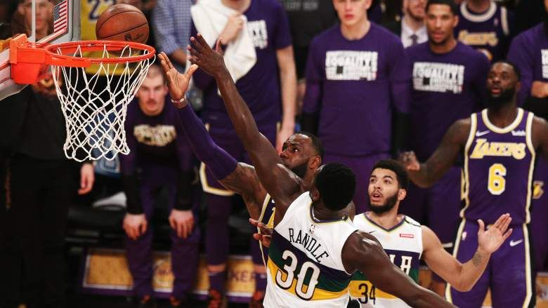 Lakers Playoff Chances After Win Against Pelicans Getty Lebron James Of The Los Angeles Lakers Goes For A Layup Against Julius Lakers Playoffs Playoffs Lakers
