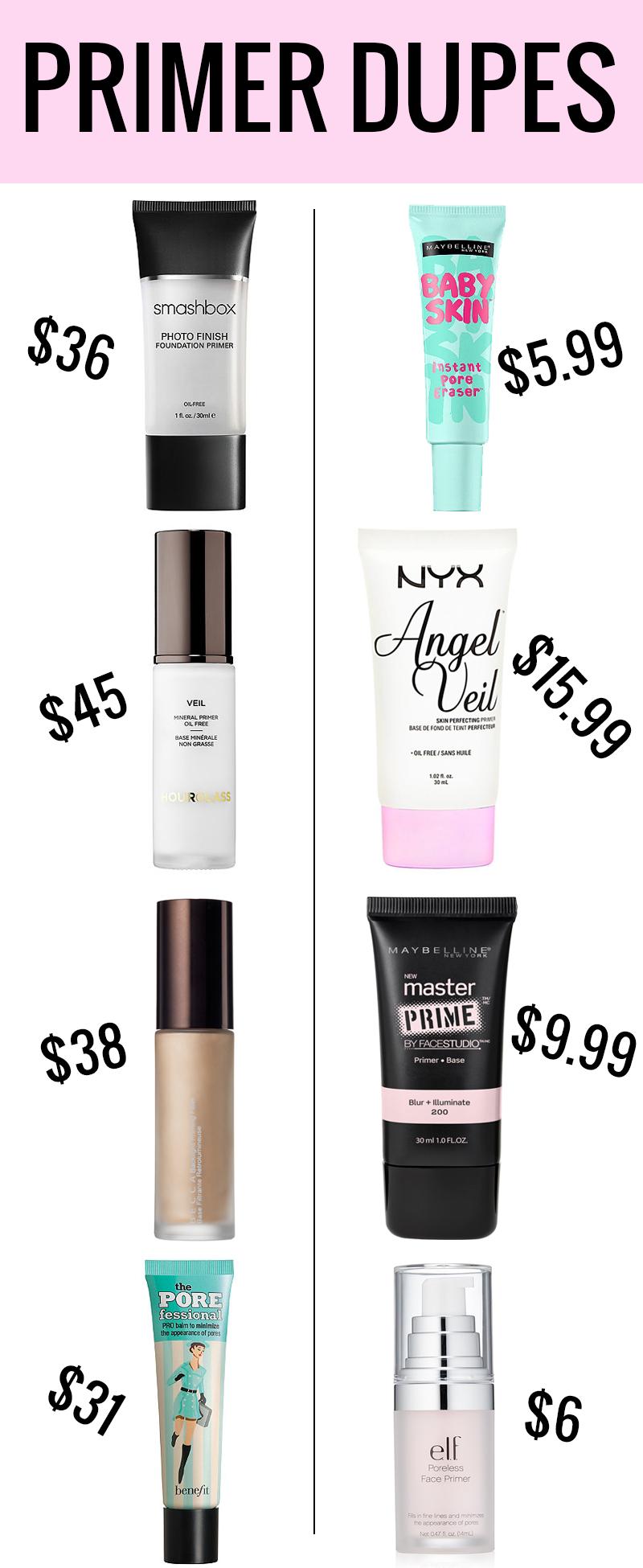 Makeup Primer Dupes Drugstore makeup dupes, Makeup