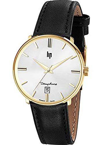 Lip Dauphine – Montre Homme – H671M426 – Bracelet Cuir Noir – Boitier Acier doré -Cadran Argent