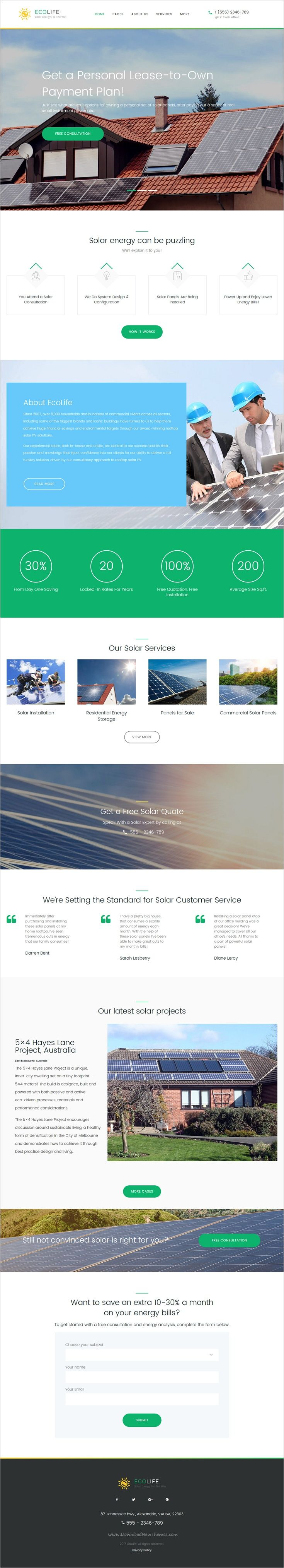 This Wordpress Theme For Green Energy Company Is Delivered With Multiple Layout O Free Business Card Templates Business Cards Online Business Card Template