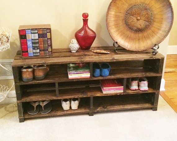 Handmade Shoe Storage Bench Shelving // Shoe Rack // Wood Storage ...