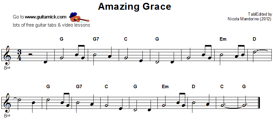 Amazing Grace Guitar Sheet Music