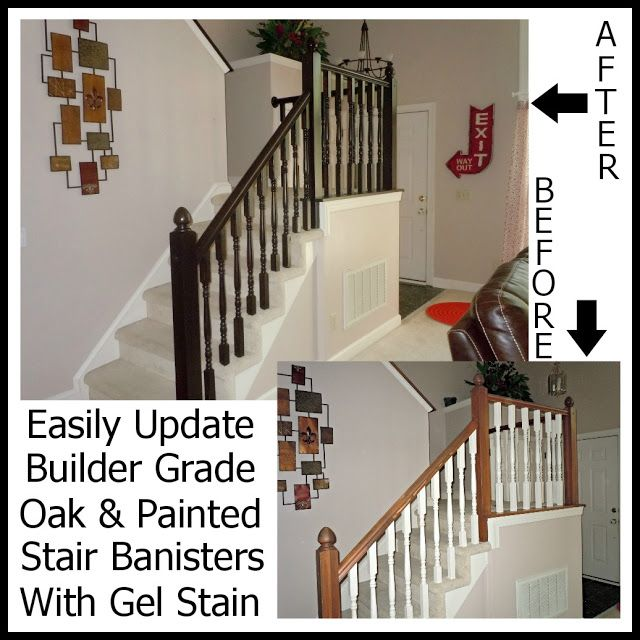 Wooden Stairs With Painted Stripes Updating Interior: Updating A Builder Grade Oak/Painted Banister With Gel