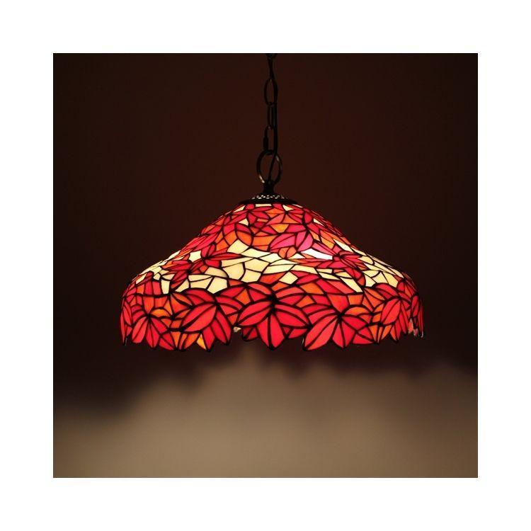 ティファニーライト ペンダントライト ステンドグラス照明 紅葉 2灯