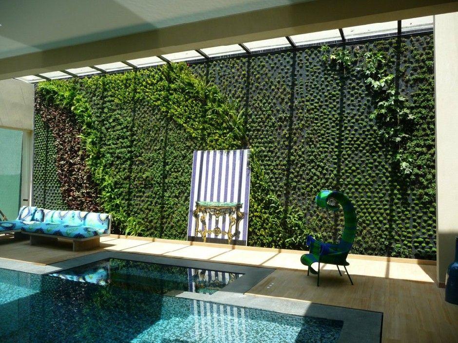 Muro verde interior al lado de la alberca jard n for Materiales para un muro verde