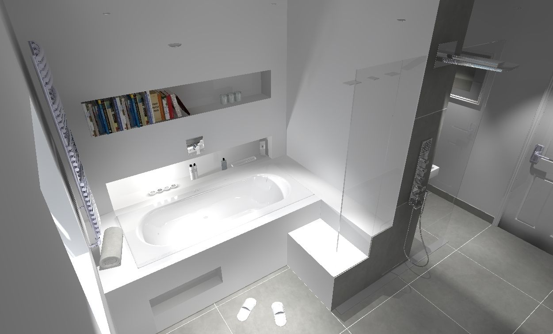 Corian Bath Surround With Seat Corian Wall Cladding And Walk Through Shower 3d Bathroom Design Bath Surround Wall Cladding