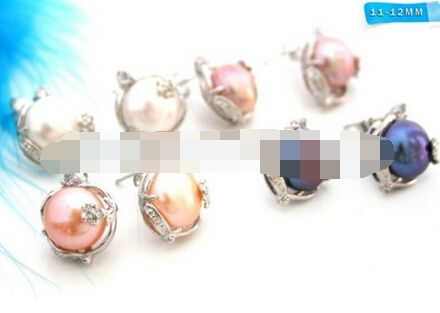 HOT SELL - Stunning Black Freshwater Pearl Beads Unique Design Stud Earrings 4pair -Top quality free shipping