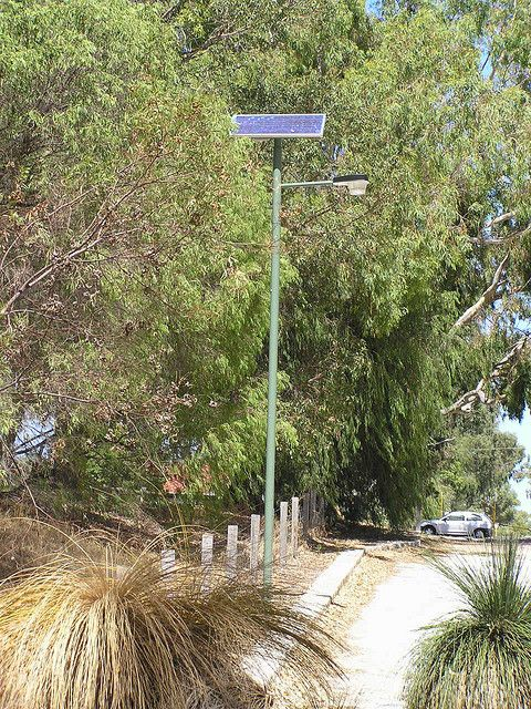 Solar powered street lights are not common in Perth  This is