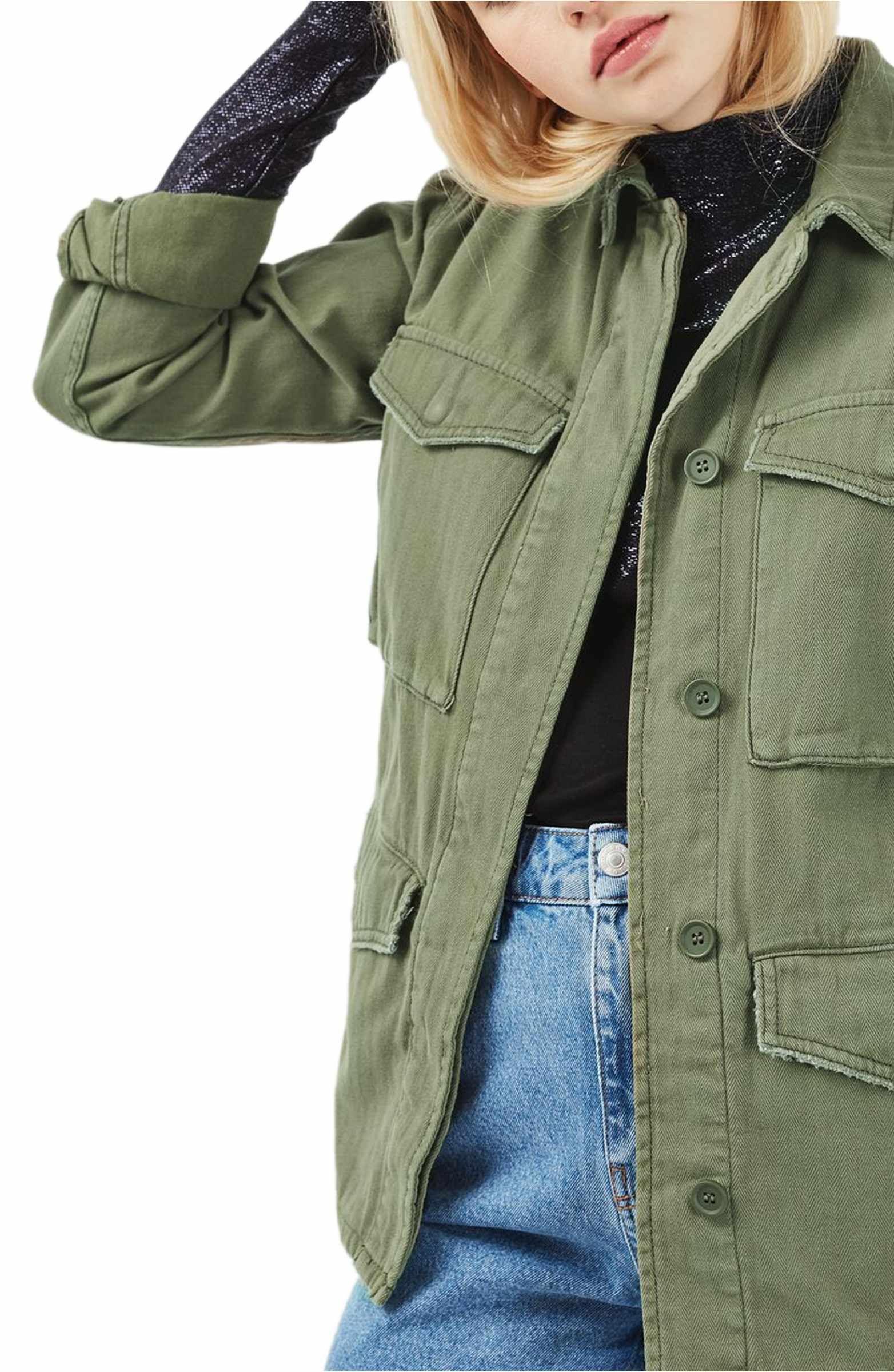 Topshop Ethan Shirt Jacket Nordstrom Topshop Outfit Olive Military Jacket Jackets [ 2400 x 1564 Pixel ]