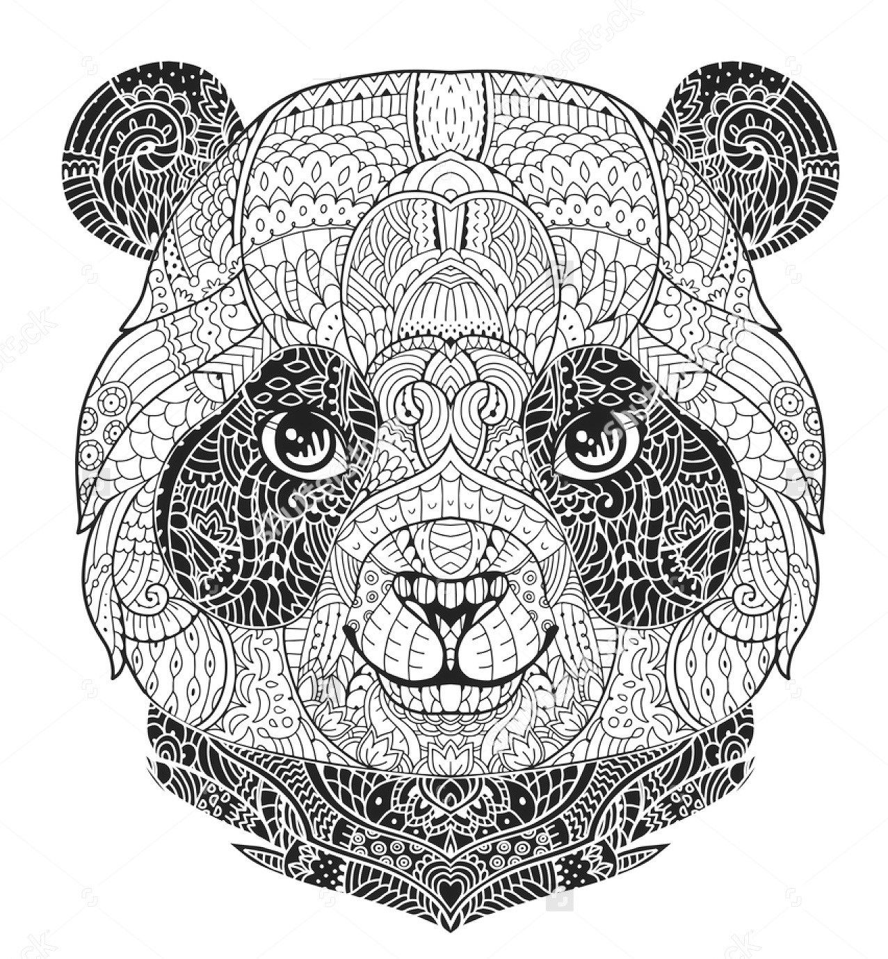 Zentangle Panda Face Colouring Sheet Art Coloring Pages