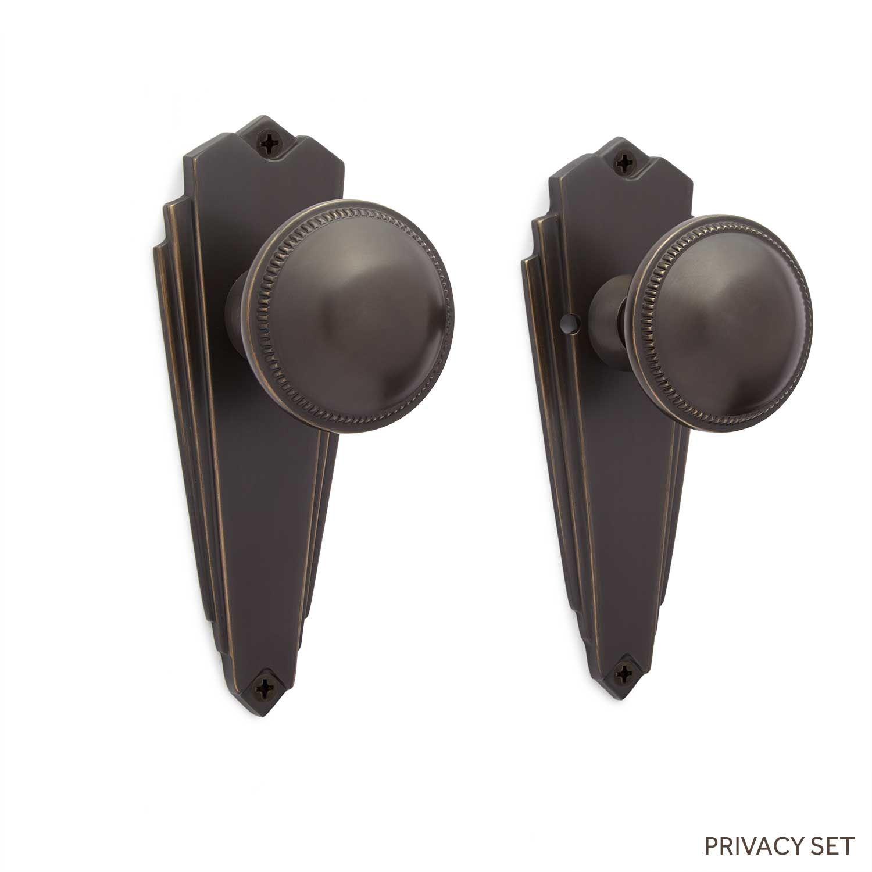Isabelle Triangular Door Plate  & Small Round Bead Knob Set - Dummy, Privacy & Passage