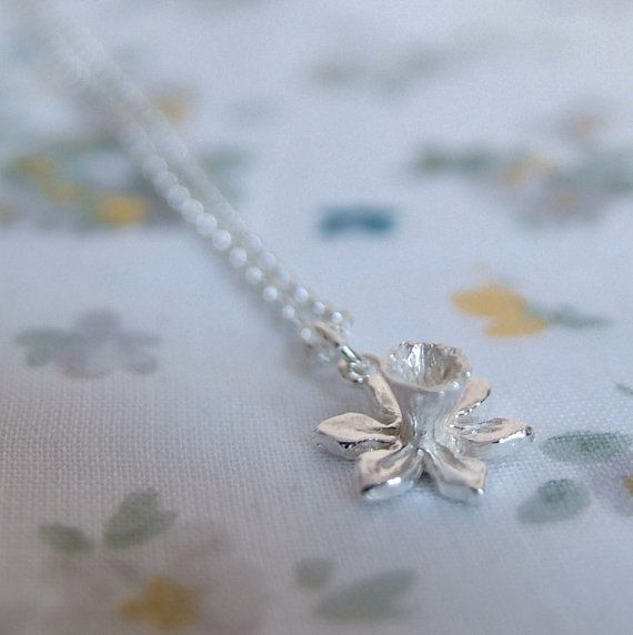 Silver Necklace Spring Daffodil by RockRoseJewellery on Etsy, $53.00