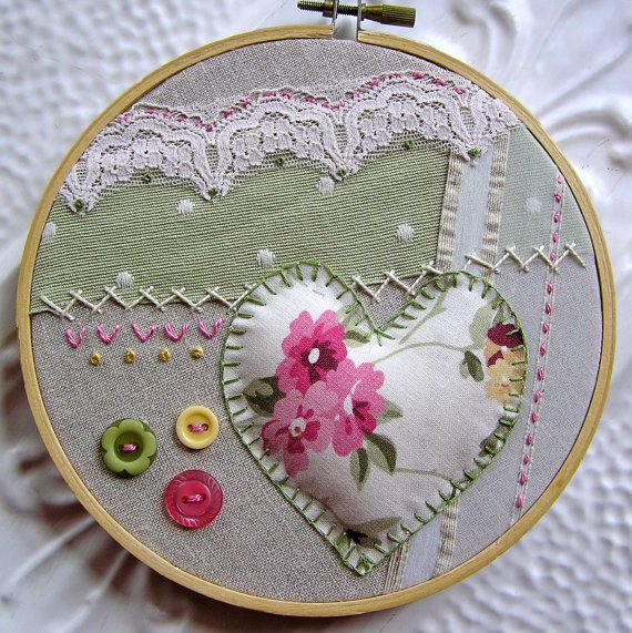 Embroidered Hoop Wall Art Gwyneth Romantic by bellacelestina, $20.00