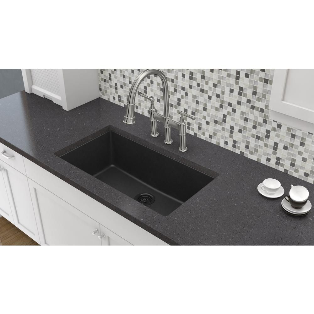 Elkay By Schock Undermount Quartz Composite 33 In Single Bowl Kitchen Sink Black Hdsbu33189qb The Home Depot