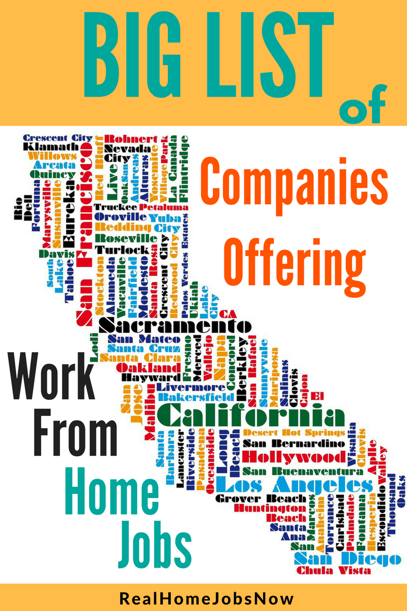 Big List Of Companies With Work From Home Jobs In California