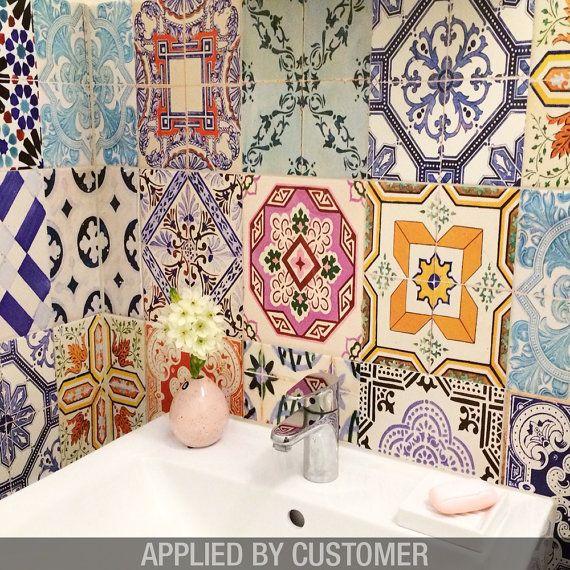 traditional spanish tiles stickers tiles decals tiles for kitchen backsplash or bathroom pack - Tijdelijke Backsplash