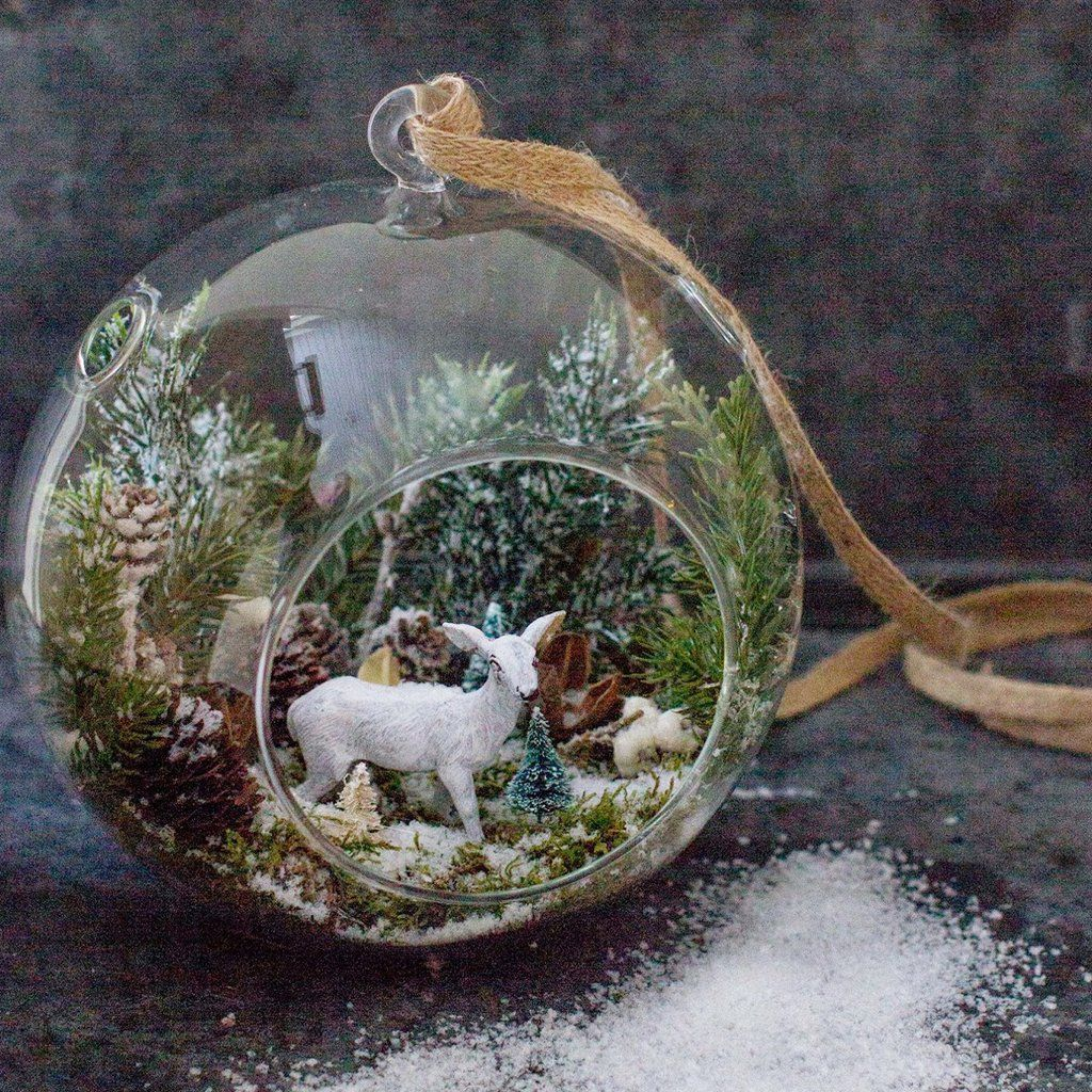 Hanging Glass Globe Terrarium Air Plant Candle Holder Christmas Ornament