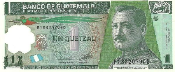 Cedula Guatemala 1 Quetzal Ano 2017