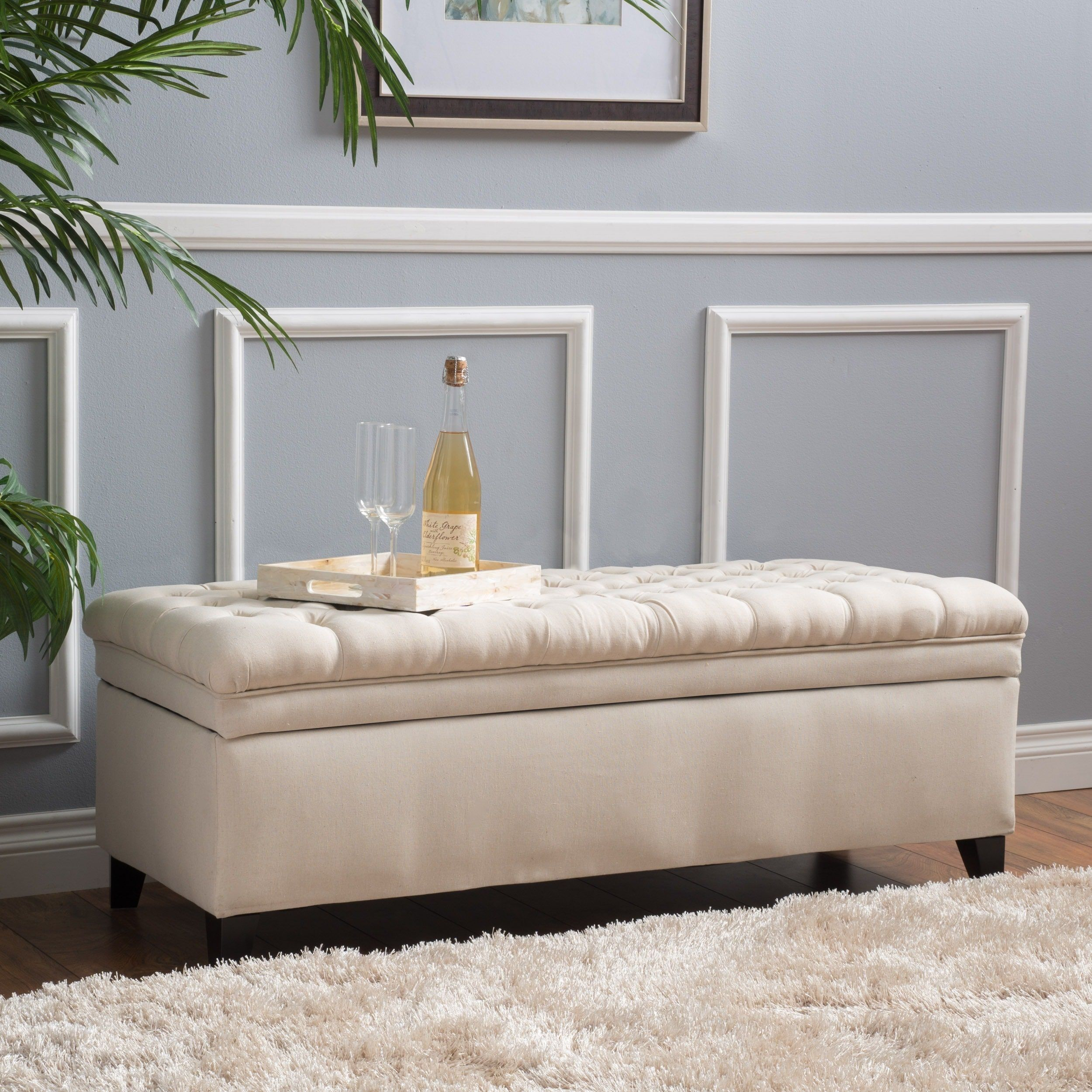 Hastings Tufted Fabric Storage Ottoman Bench by Christopher Knight ...