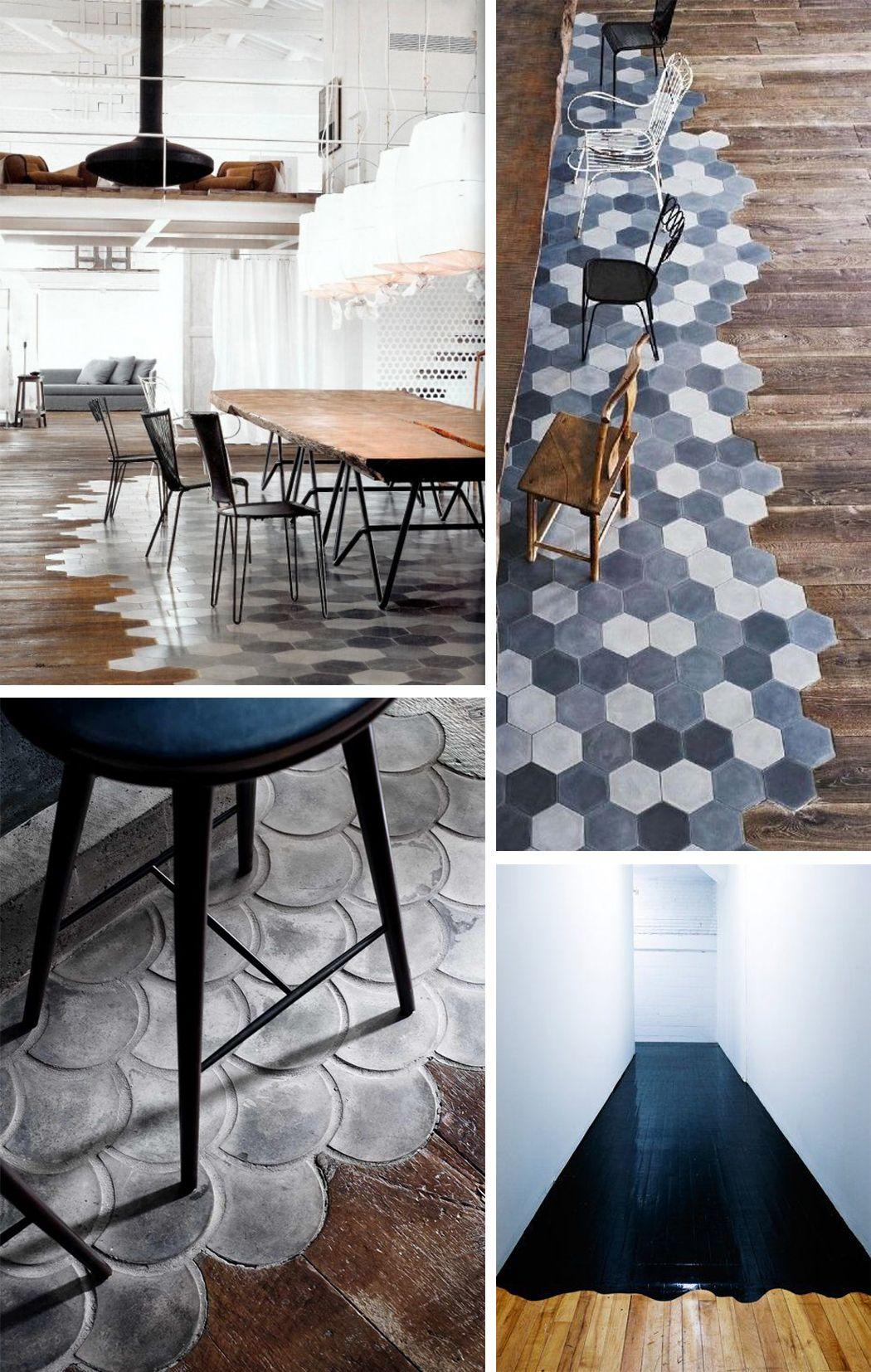 ideas deco combinar suelos diferentes decoraci n suelos floor decoration pinterest. Black Bedroom Furniture Sets. Home Design Ideas