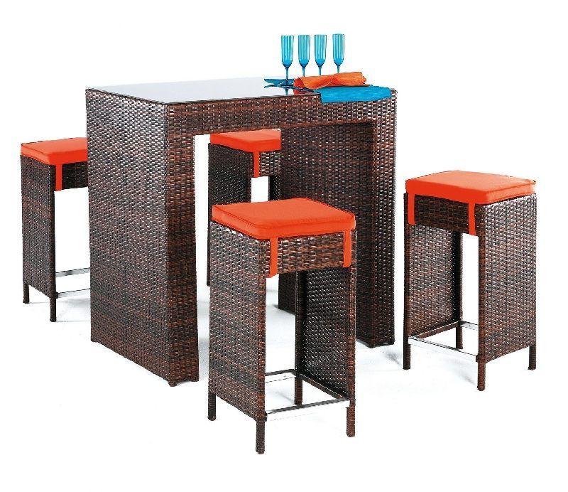 Salon de jardin résine Delfin 4 places avec coussins orange