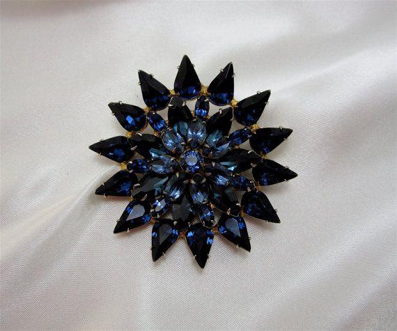 Vintage Sapphire Rhinestone Brooch Blue Brooch Lapel Pin Women Teens  Costume Jewelry Brooch Mad Men 60u0027s