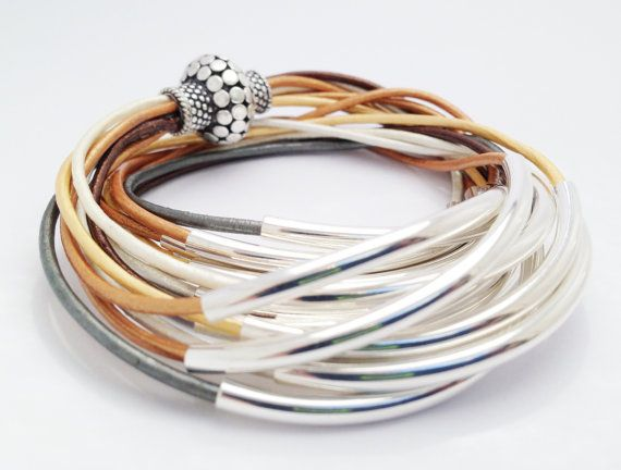 BraceletMetallic Leather with Silver Tube Accents by Leatherwraps, $75.00
