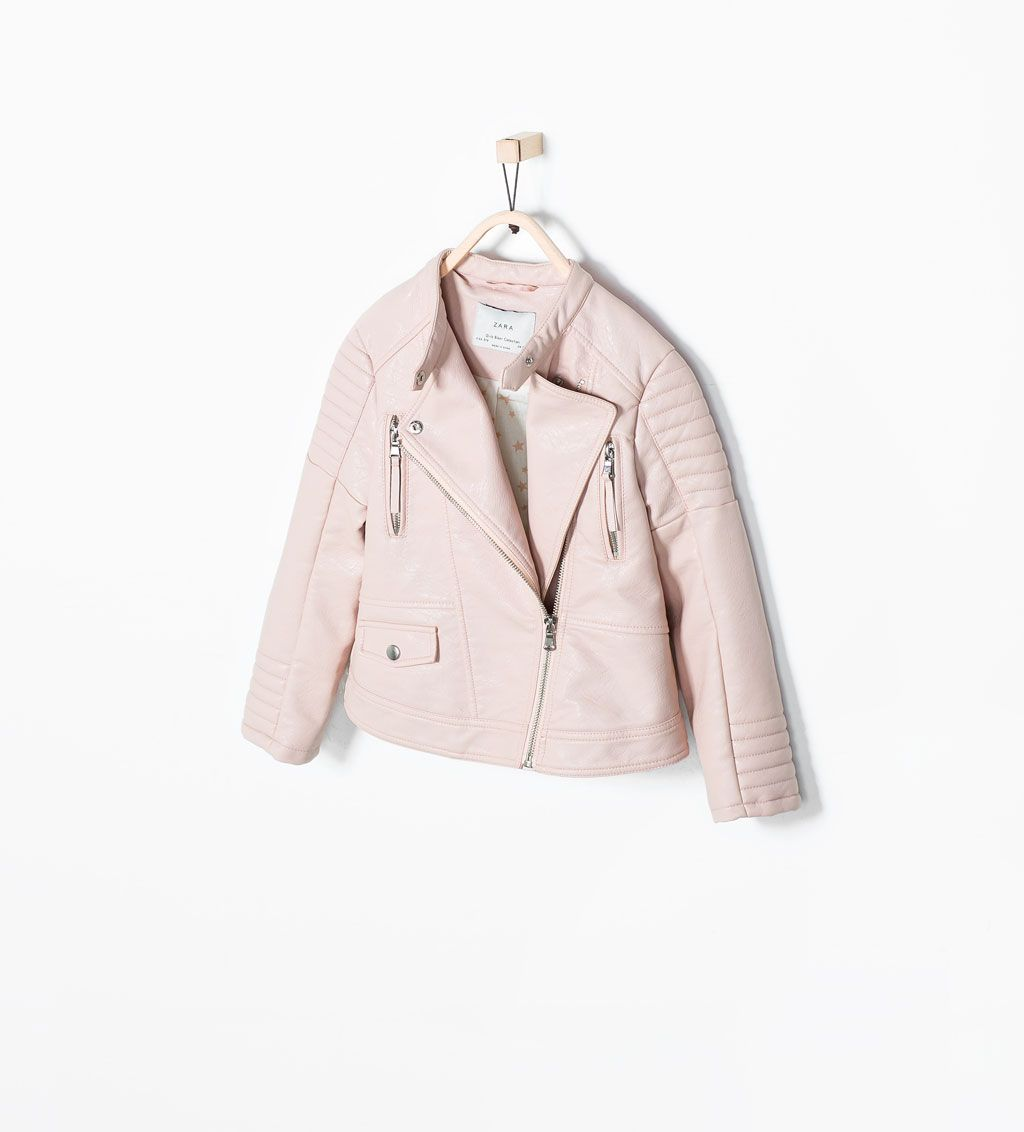 ec96122c PINK FAUX LEATHER JACKET from Zara | Kids Fashion & Style | Faux ...