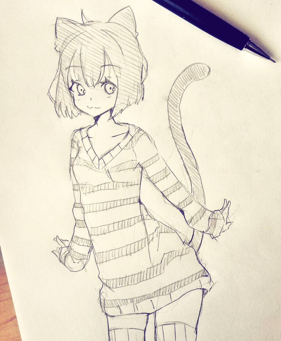 Anime cat girl sketch