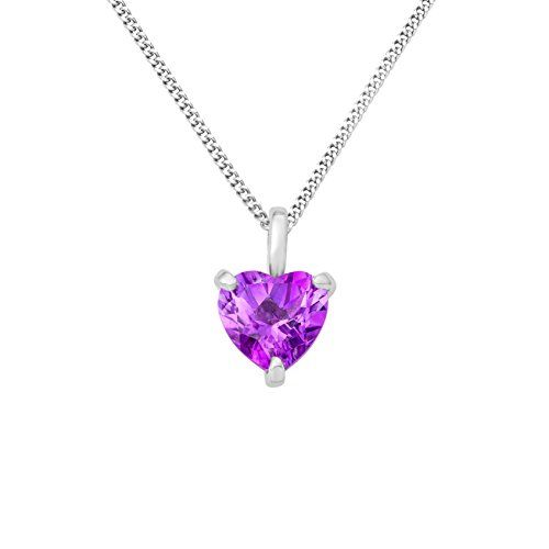 Miore women's 925 Sterling Silver Amethyst Zirconia Heart Pendant on 45cm Chain NrzSzLQ