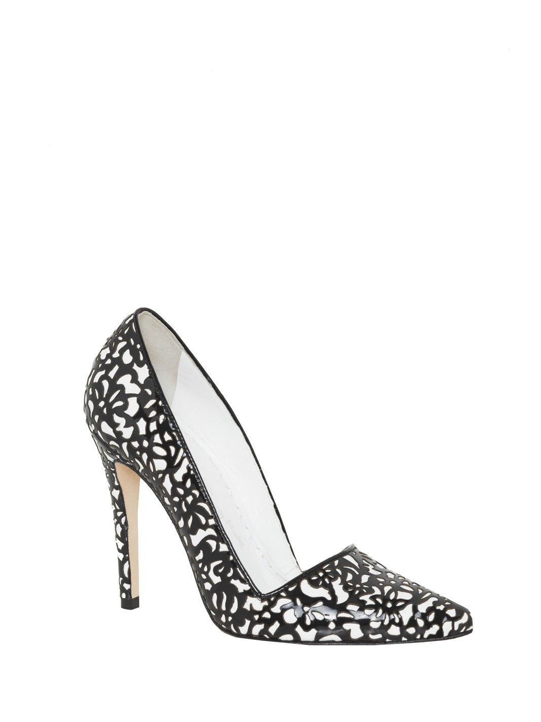 DINA LACE LASER CUT SMOOTH PATENT HEEL