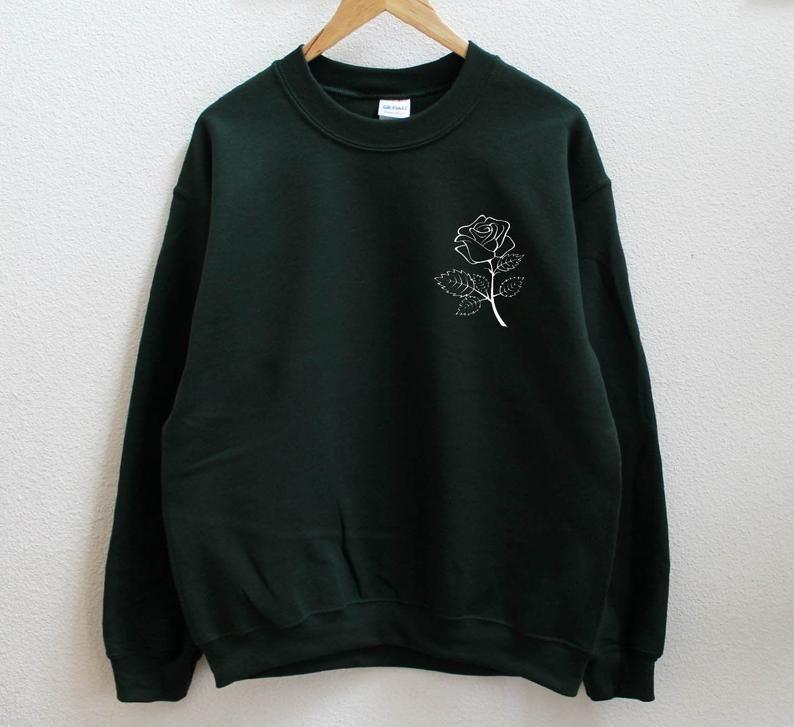 Rose dark green sweatshirt