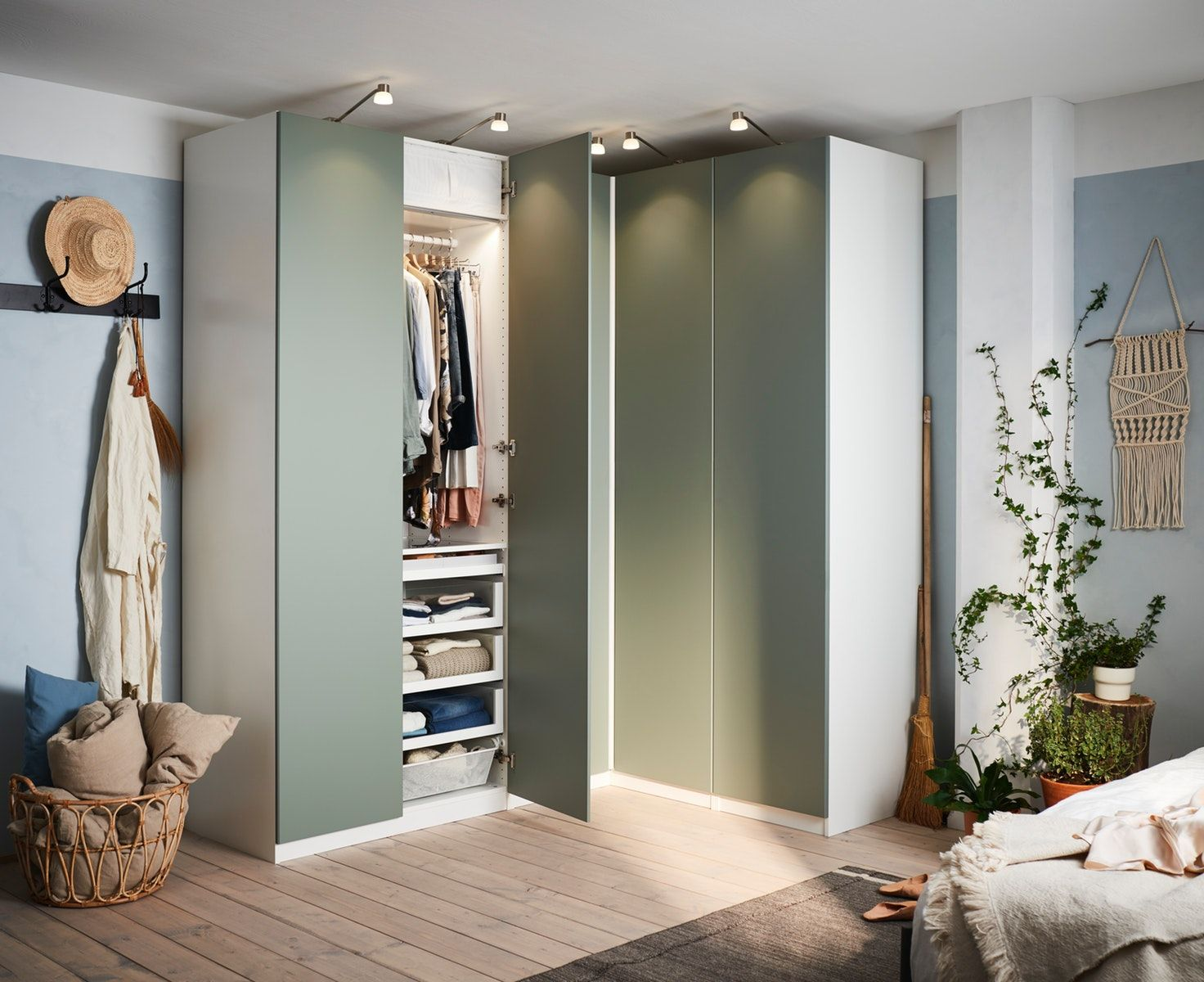 Reinsvoll Door Grey Green Corner Wardrobe Ikea Bedroom