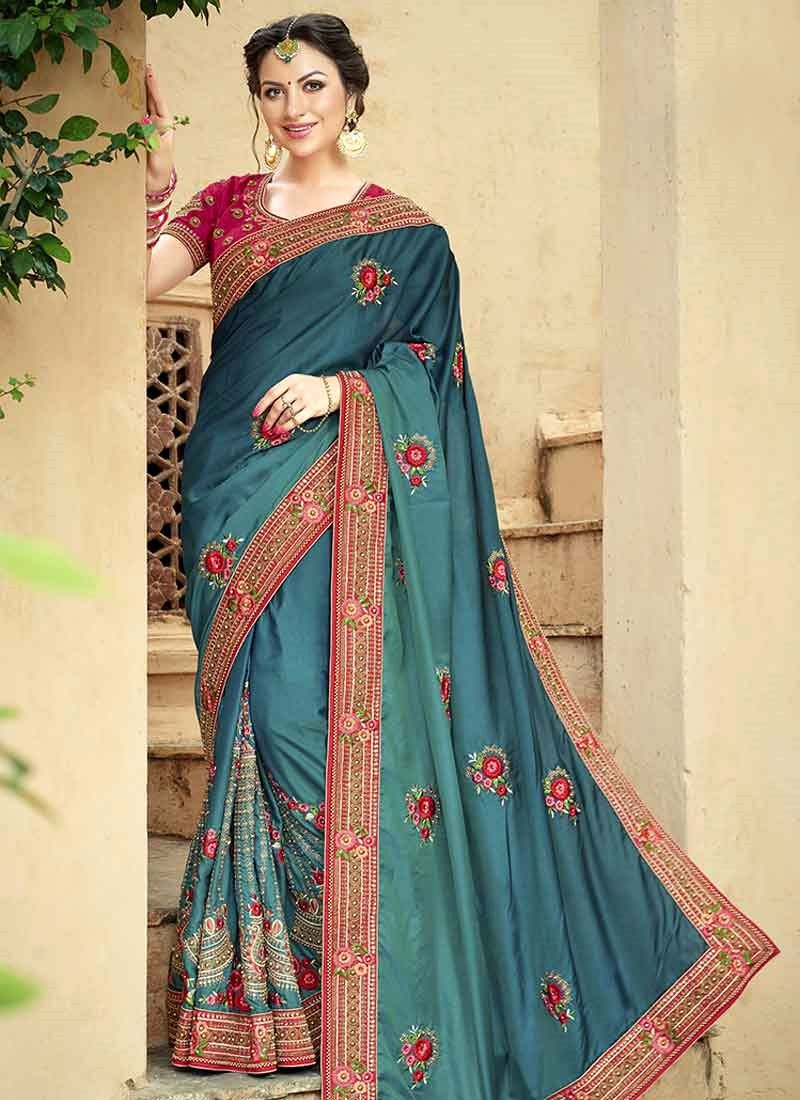 2630a371c2 Buy now! This fine teal embroidered, patch border and resham work classic designer  saree. Available cod and customization.