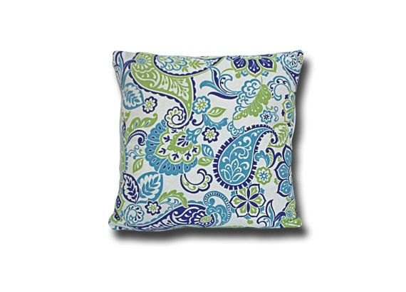 Paisley Accent Pillow Cover 14 To 18 Inch Turquoise Blue Lime Green Navy  Decorative Sofa Pillow