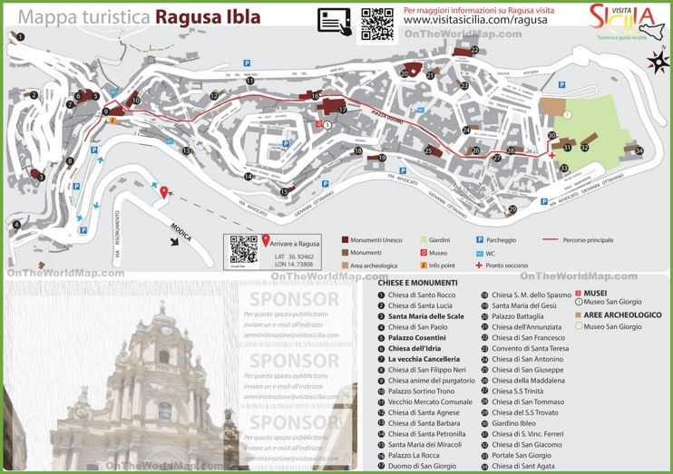Ragusa Ibla tourist map Maps Pinterest Tourist map Italy and City
