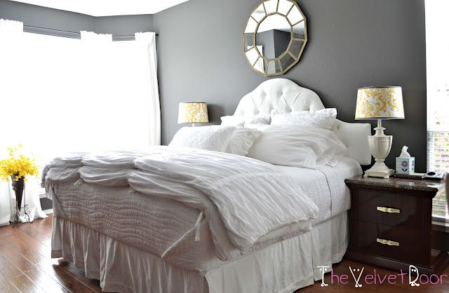 Benjamin Moore Kendall Charcoal Dark Gray Paint Color : The Velvet Door  Painted Their Master Bedroom Benjamin Moore Kendall Charcoal.